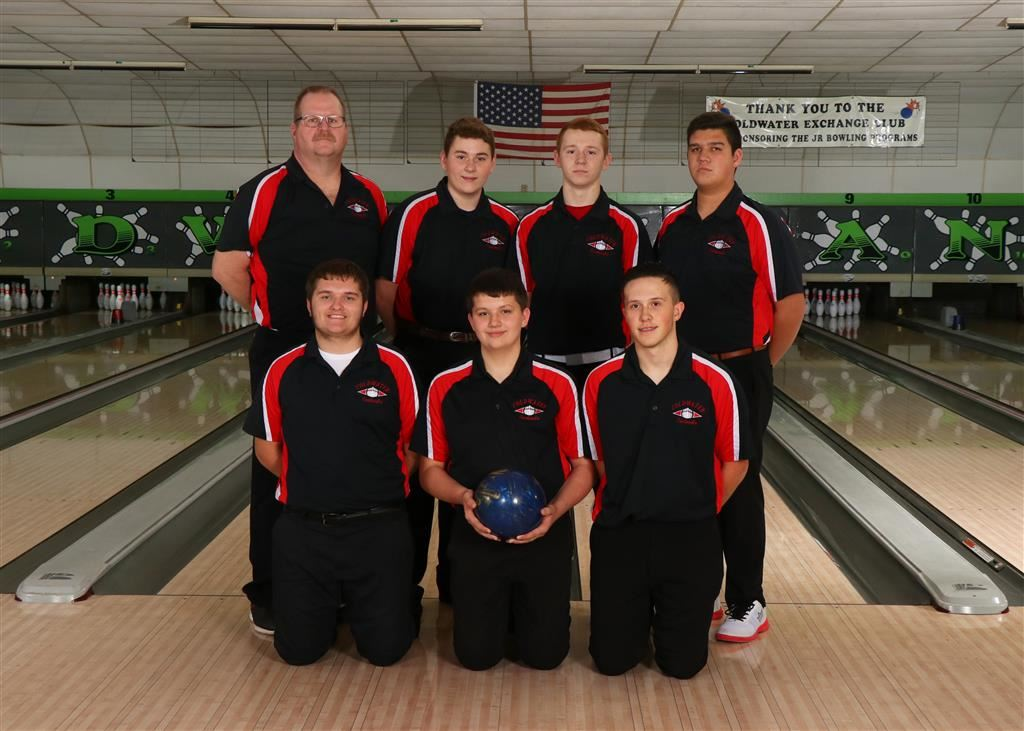 The 2019-20 Coldwater Cardinal varsity boys bowling team. Photo credit: Prater Studios