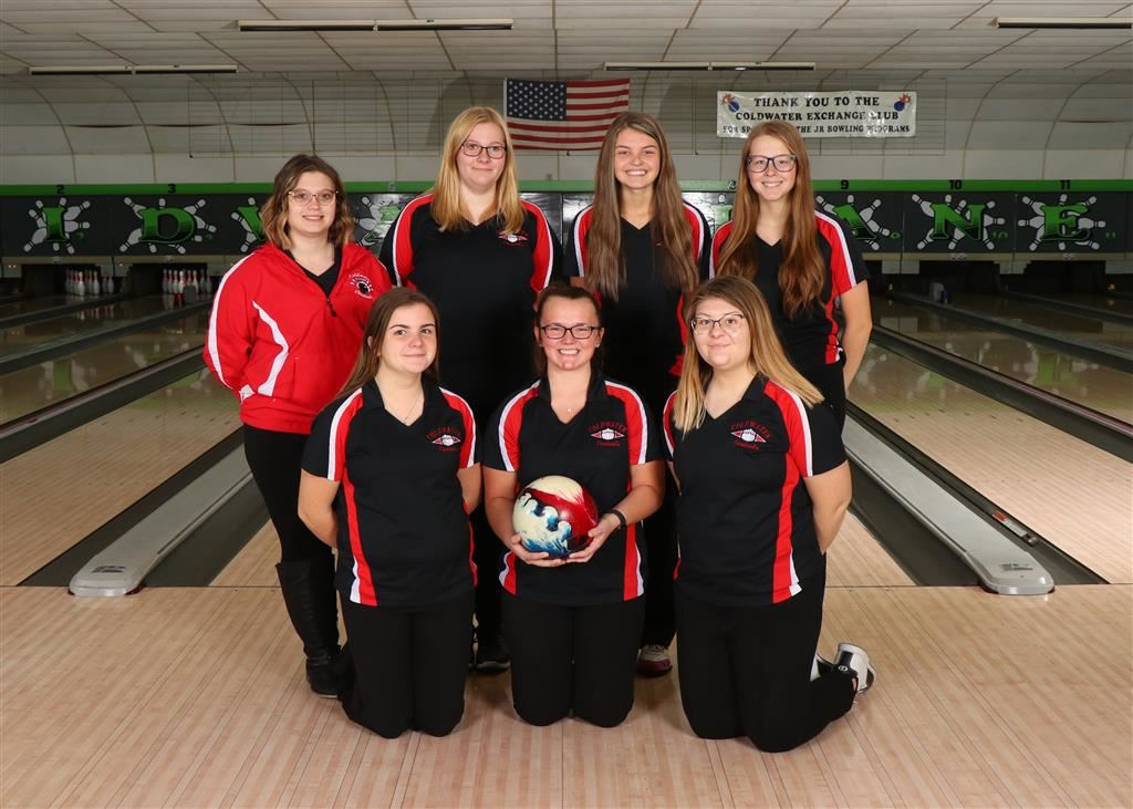 The 2019-20 Coldwater Cardinal varsity girls bowling team. Photo credit: Prater Studios