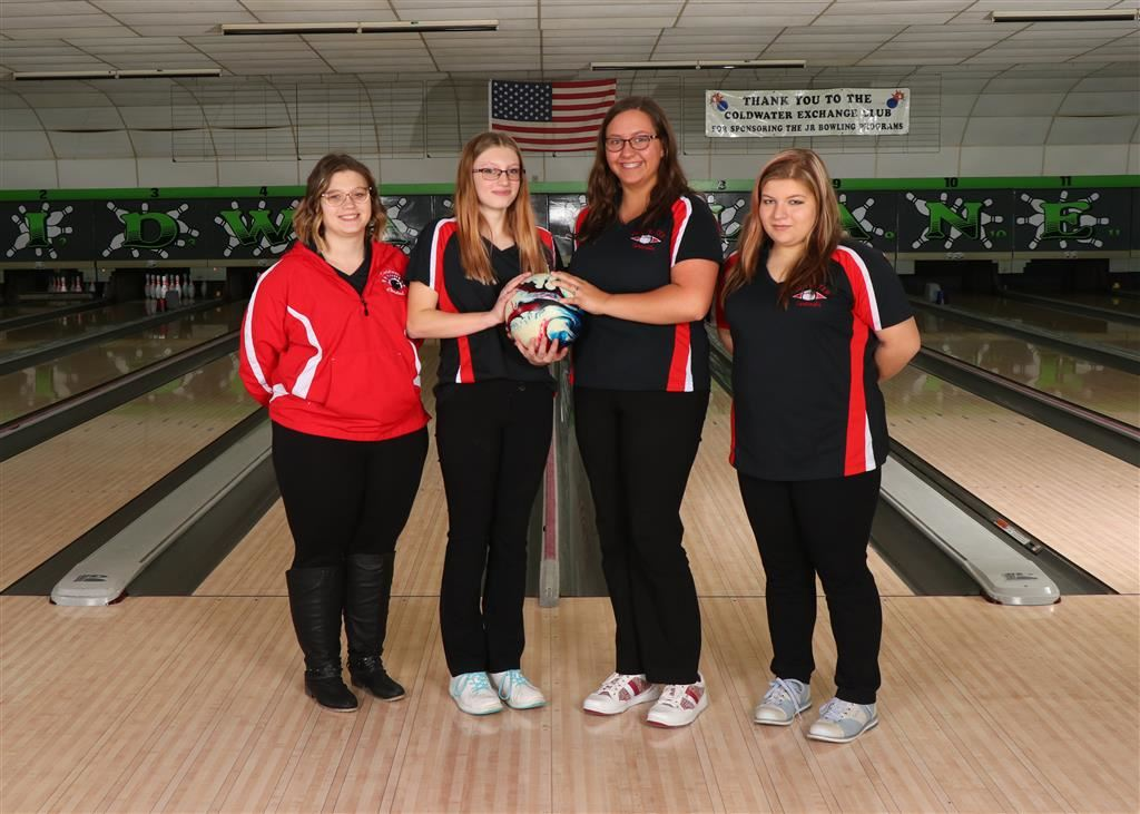 The 2019-20 Coldwater Cardinal JV girls bowling team. Photo credit: Prater Studios