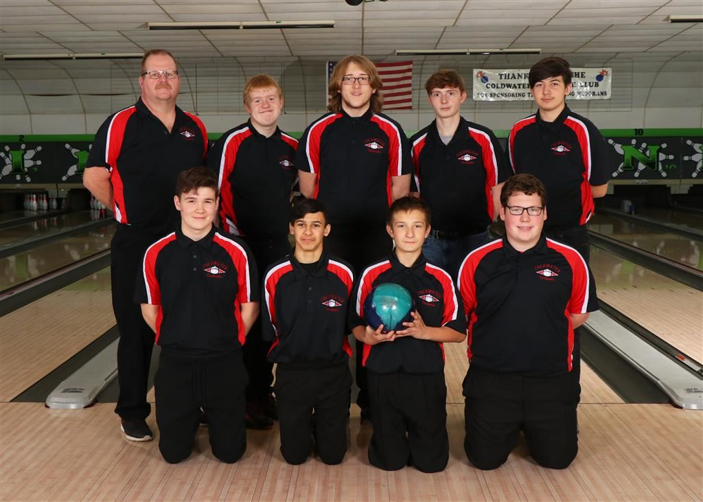 The 2019-20 Coldwater Cardinal JV boys bowling team. Photo credit: Prater Studios