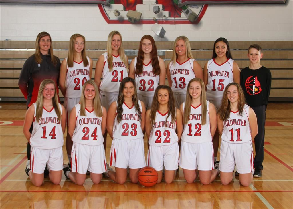 The 2018-19 Coldwater Cardinal JV girls basketball team. Photo credit: Prater Studios