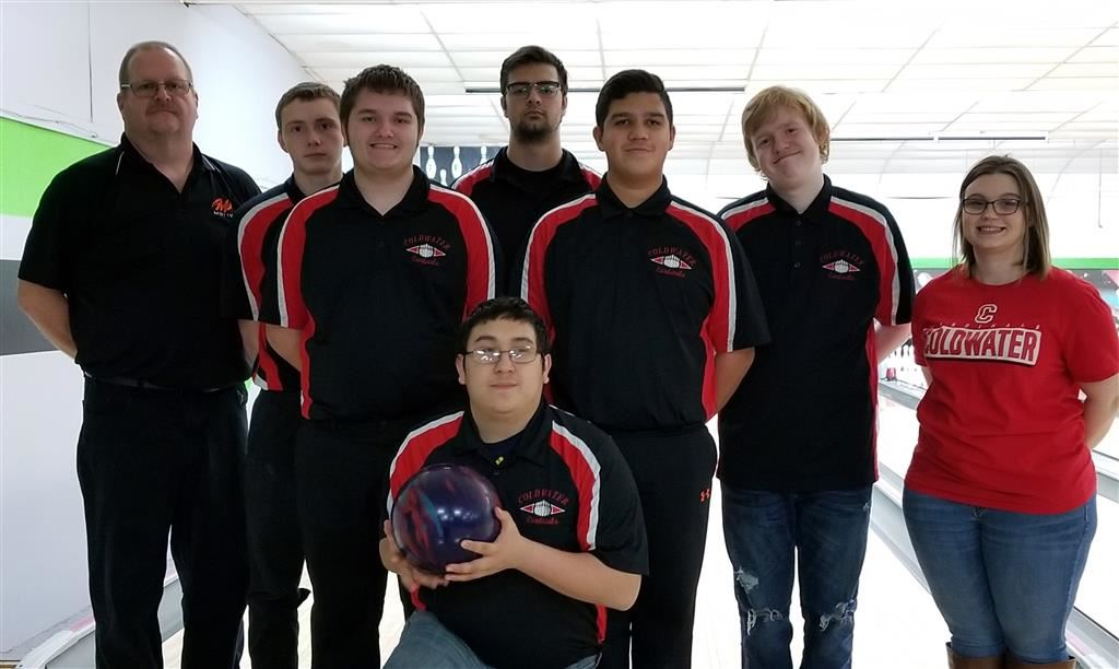 The 2018-19 Coldwater Cardinal JV boys bowling team. Photo credit: Rick Yearling
