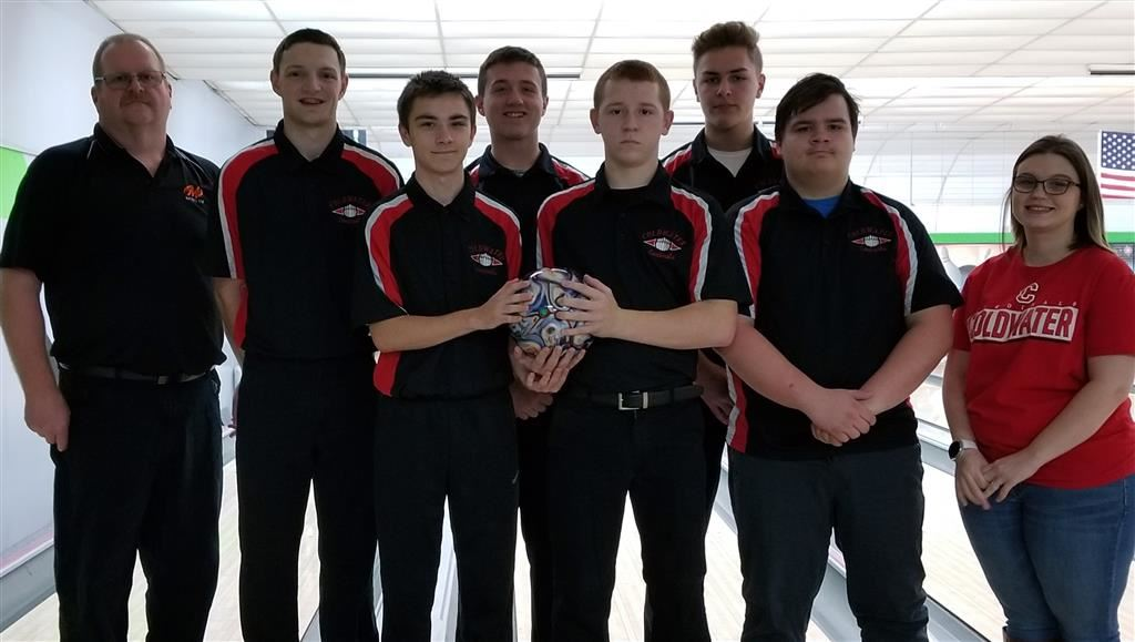The 2018-19 Coldwater Cardinal varsity boys bowling team. Photo credit: Rick Yearling