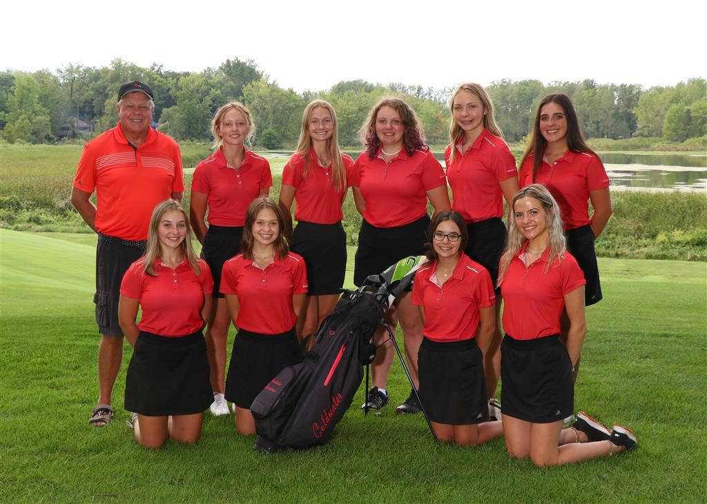 The 2018 Coldwater Cardinal varsity and JV girls golf teams. (Photo credit: Prater Studios)