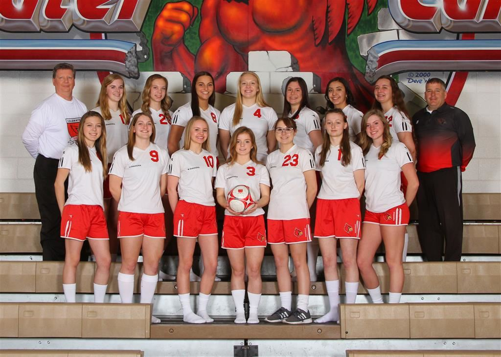 The 2019 Coldwater Cardinal varsity girls soccer team. Photo credit: Prater Studios
