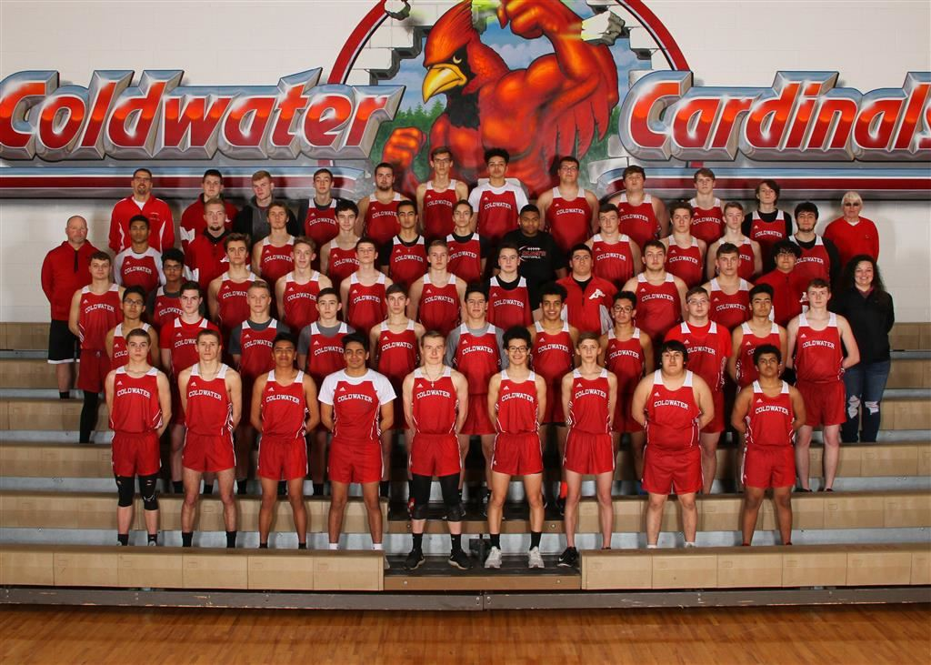 The 2019 Coldwater Cardinal boys track team. Photo credit: Prater Studios