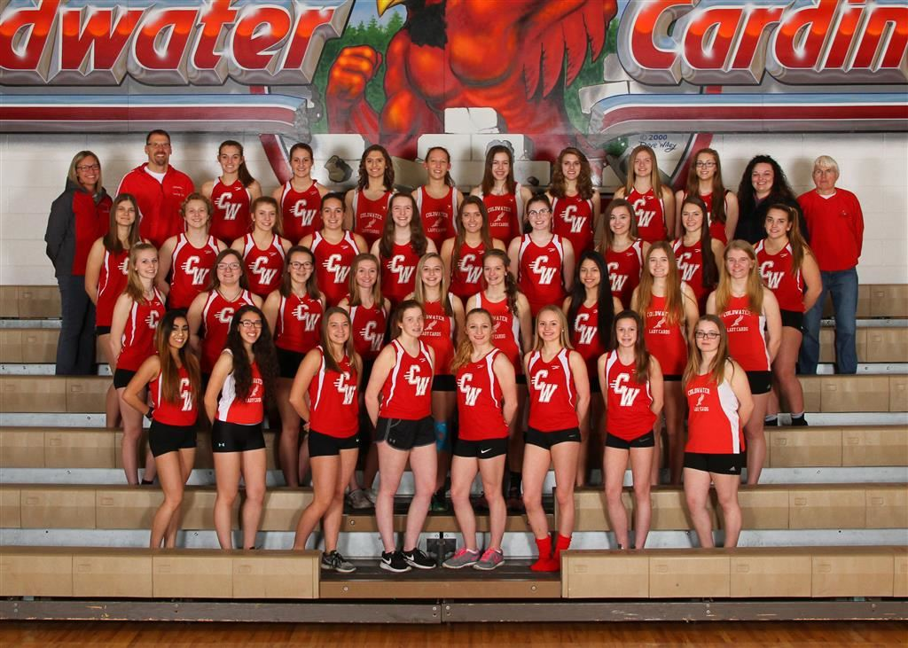 The 2019 Coldwater Cardinal girls track team. Photo credit: Prater Studios