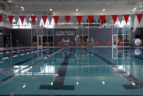 The 25-yard competition pool at the Browne Aquatic Center. Photo credit: Lifetouch Studios